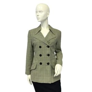 DKNY Blazer Glen Plaid unusual Collar Blazer Sz 4